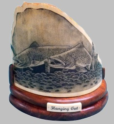 Hanging Out Salmon Scrimshaw