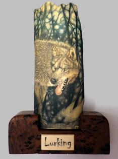 Lurking Wolf Scrimshaw