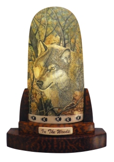In the Woods Wolf Scrimshaw
