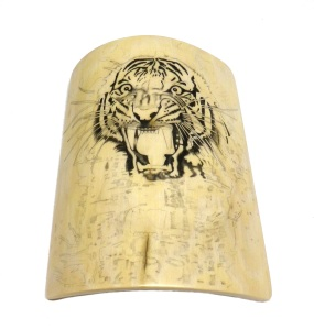 Tiger's Head Scrimshaw Black Areas Filled