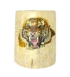 Tiger's Head Scrimshaw Head Completed