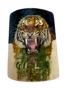 Tiger's Head Scrimshaw Background Reflection Completed