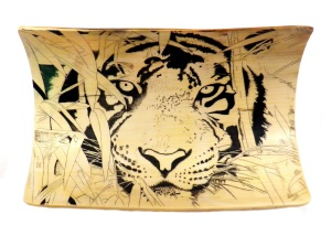 Bamboo Tiger Scrimshaw With Black Areas Added
