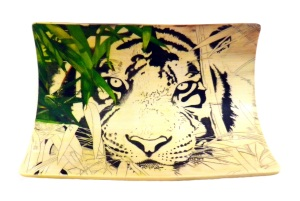 Bamboo Tiger Scrimshaw Bamboo Leaves On Left Added