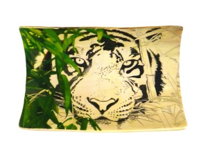 Bamboo Tiger Scrimshaw All Bamboo Leaves On Left Added